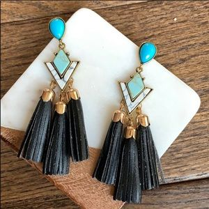 Boho Black Leather Tassel Earrings